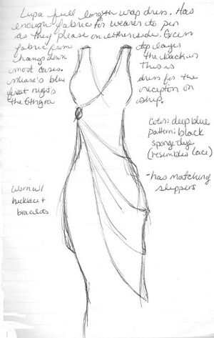 Sketch of a female body with a Lupa formal wrapped dress.